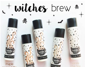 WITCHES BREW Lip Balm - All Natural - Homemade - Pumpkin Caramel Latte - Vanilla Chai Tea - Maple Pecan Latte - Cinnamon Dolce Latte