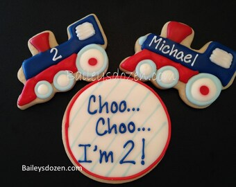 Choo Im Two Cookies Childs Second Birthday Train Theme 2nd Party Cookie Favors