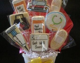 Get Well cookie bouquet | Custom decorated cookie gift | Cookie basket arrangement | Sick | Get Better