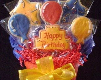 Happy Birthday cookie bouquet, custom decorated birthday cake and party balloons