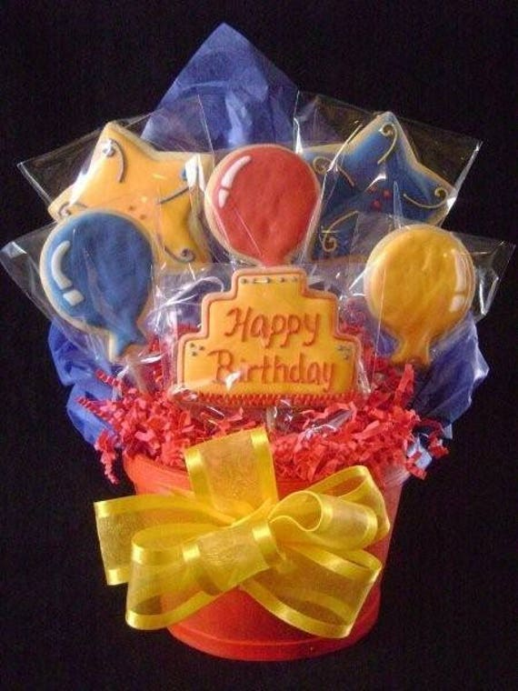 Happy Birthday Cookie Bouquet Custom Decorated Gift