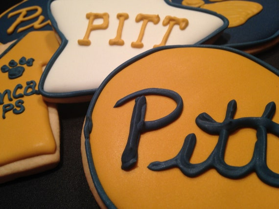 quality design ce208 b56b4 1 Dozen Pitt Panther throwback jerseys | Pitt paw print cookies | Navy and  gold | College care package | Pitt field house Reunion
