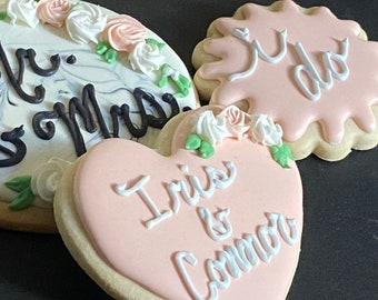 Personalized i do cookies for a bridal shower, wedding cookies with Mr and mrs bride and groom names