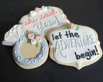 She said YES! cookies for a bridal shower, future Mrs cookie, bride to be, gold brushed