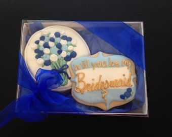 Bridesmaid Cookie gift box | Will you be my Bridesmaid? | Bridesmaid proposal |  Bridal Party Gift | Wedding Cookie | FREE Shipping