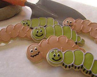 Worms and caterpillars | Custom decorated cookies for spring parties and picnics