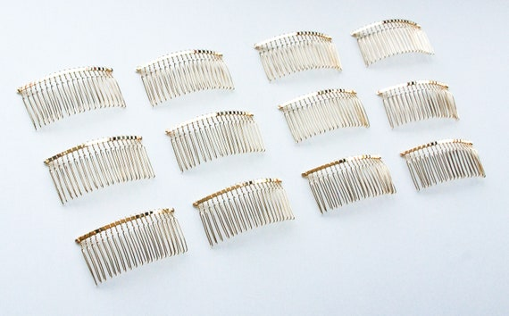 3 Pcs Wire Silver Hair Comb Bridal Wedding Supplies Make Veil Craft DIY 4.5 inch