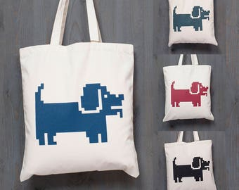 DOGTANGLE tote bag, COLORS, cotton, silksreen, print, pixel, minimal, cool, octopus, dog, doge, puppy