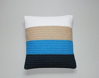 Knit colorblock beige and blue pillow cover 16x16 inches