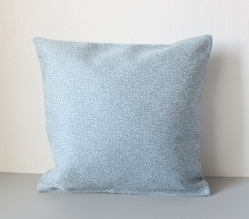 Blue and white gunny pillow cover 16x16 inches 40x40 cm