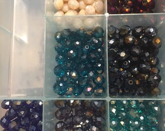 8 mm  65 pc shiny glass beads a B in bulk  SALE!!