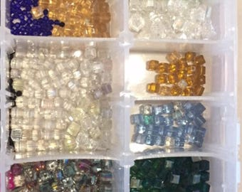 Sale!!75 piece assorted shiny austria  glass beads #5601 6mm cube crystal beads Bulk DIY/50 pc multicolor Austria 6 mm cube beads