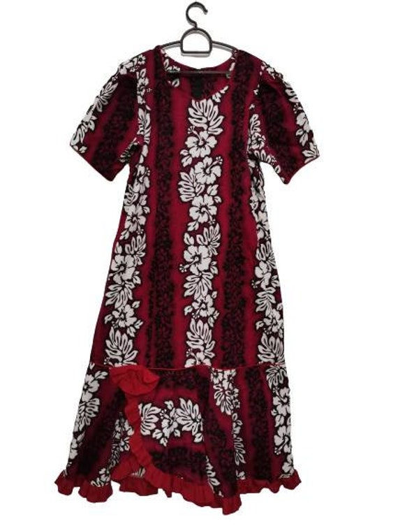 Vintage Hawaiian Dress, Ruffle Flounce Summer Dres