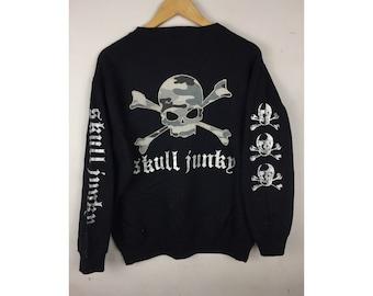SKULL JUNKY Long Sleeve Sweatshirt Medium Size With Big Skull Embroiled Logo