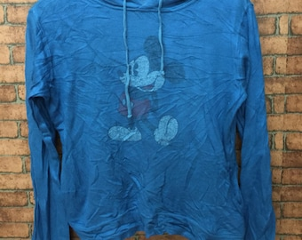 MICKEY Mouse by Disney Long Sleeve Hoodies Medium Size with Large faded Cartoon and Big Spell Out Faded Logo at back
