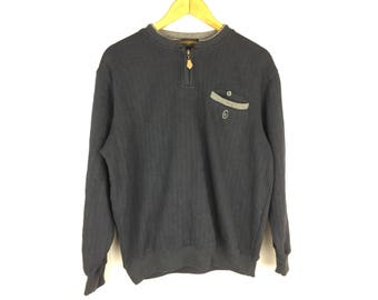 GIANNI VALENTINO Italy Neck Zipper Large Size Sweatshirt
