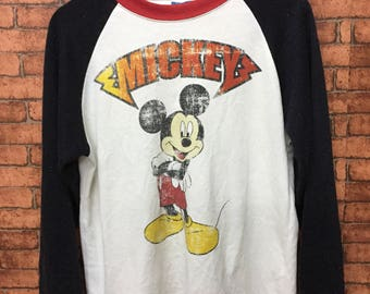 MICKEY MOUSE Long Sleeve T-Shirt Medium Size Nice Design of Metalicca Font