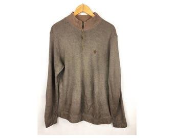 THE SCOTCH HOUSE Long Sleeve Sweatshirt Neck Zipper Large Size