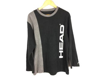 HEAD Long Sleeve Sweatshirt / Pull Over Streetwear Large Size with Big Spell Out Full Print Logo