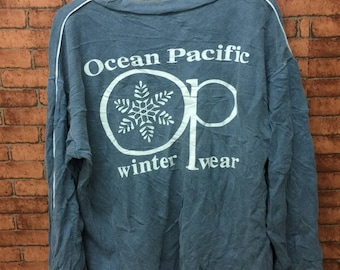 OCEAN PASIFIC Winter Wear Long Sleeve Sweatshirt / Pull Over Medium Size Big Full Print Design Logo At Back