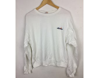 ELLESSE Long Sleeve Sweatshirt Medium Size With Small Embroidery Spell Out Logo At Chest