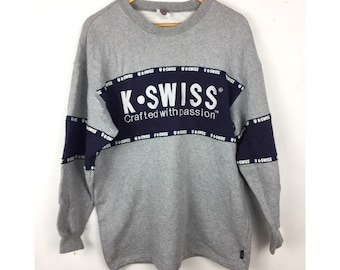 K SWISS Vntage Sweatshirt With Big Embroiled Spell Out Logo Medium Size