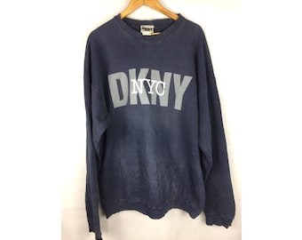 DKNY NYC Long Sleeve Sweatshirt Extra Large Size Sweatshirt Pull Over with Big Spell Out Logo