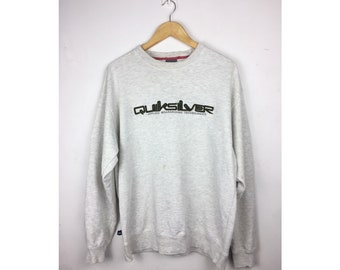 QUIKSILVER Long Sleeve Sweatshirt Large Size With Big Spell Out Embroiled Logo