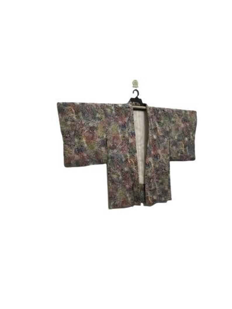 FREE SHIPPING!! Vintage Kimono Haori Japanese Traditional Floral Motif Nice Design H033