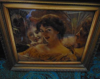Antique Victorian Crystolium / crystoleum  Three Women