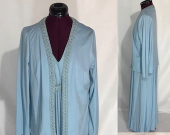 1970's-80's   Long Blue Dress with Jacket