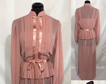 1970's | Pink Vintage Dress and Blouse