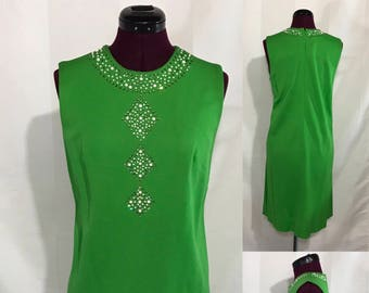1960's | Vintage Green Dress | handmade with Stones