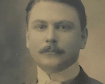 1910's | Protrait of a Man | sepia photograph | with wood frame