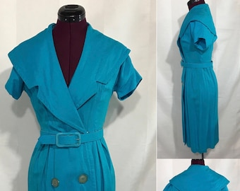 1950's | Blue Day Dress w/Belt