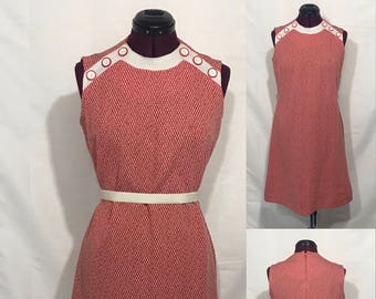 1960s Red/White Handmade Shift Dress