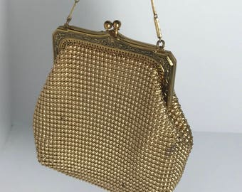 1950's | Whiting and Davis Evening Bag | Gold Tone w/ lining.