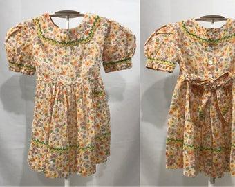 1950-60's | Girls Dress | yellow/orange/green floral print