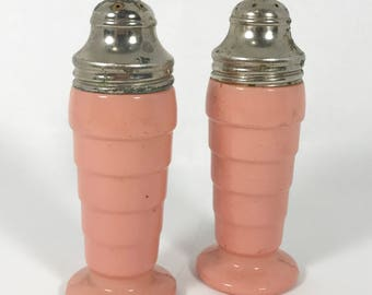 1940's | Vintage | Salt and Pepper Shakers | pink glass