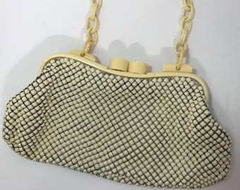 1940's | Vintage Whiting and Davis | beige plastic | mesh purse
