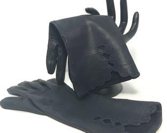Vintage | Navy Leather Gloves | formal/evening