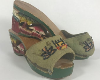 1940's | Japanese Wedges | hand carved and painted wooden wedge | sandals