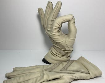 1990's | Driving Gloves | beige leather