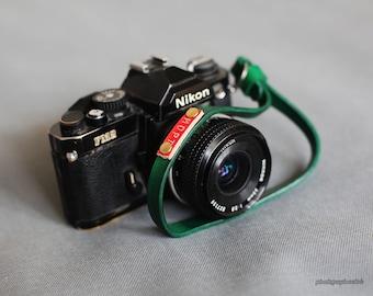 Dark green handmade dyed leather 12mm handmade camera wrist strap band   Windmup