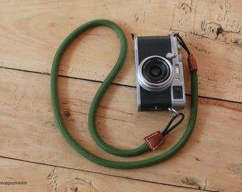 E Style green 10.5mm Climbing rope brown leather handmade Camera neck strap