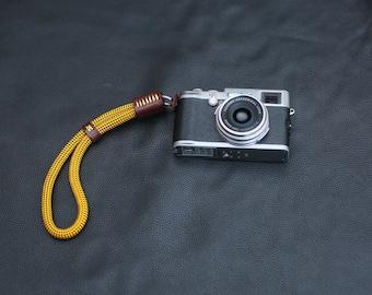 Gold soft climbing rope 10mm handmade camera wrist strap tan leather   Windmup