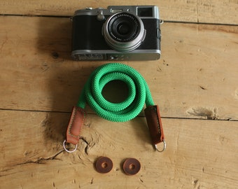 COOL windmup Pure green Climbing rope 10mm black leather handmade Camera strap