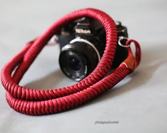 dark red 16mm Hand knit Chinese knot handmade Camera neck strap