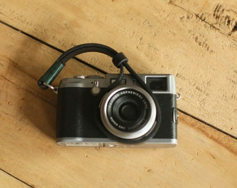 GREEN top Thickened leather 8mm dark Handmade camera wrist strap band