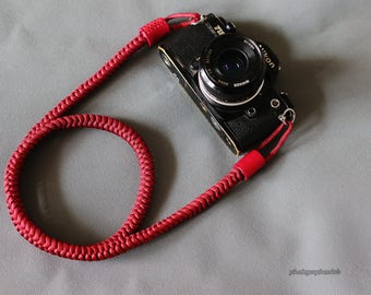 Dark red 12mm Hand knit Chinese knot handmade Camera neck strap